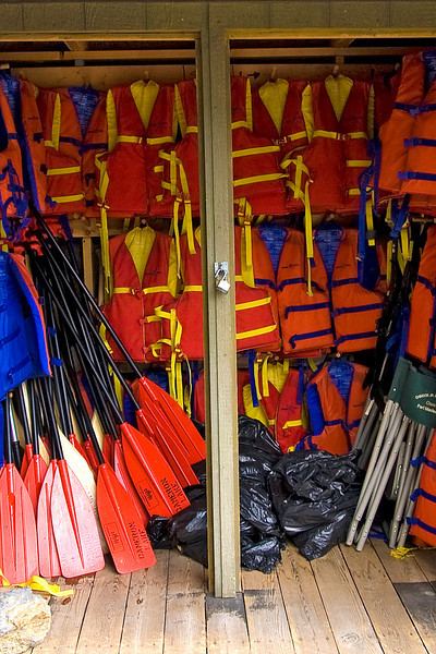 safety equipment at the canoe rental place at Cameron Lake