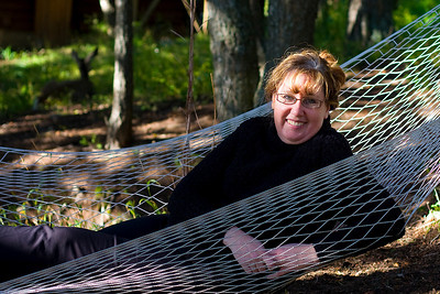 Sharon tries out the hammock