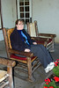 Sharon had to try one of the log rocking chairs at Lake McDonald Lodge.