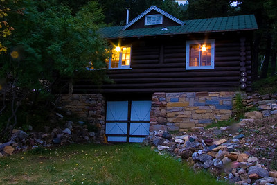 Galbraith cabin at dusk