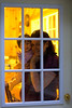 Julia and Darcie looking through the cabin door