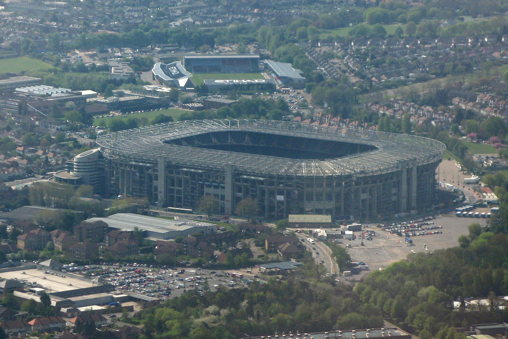 Twickenham Stadium on approach to Heathrow, June 2011