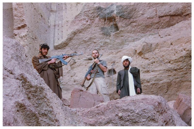 Atop Bamiyan ruins.