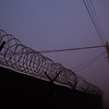 Razor wire and power lines silhouetted against the early morning sky.