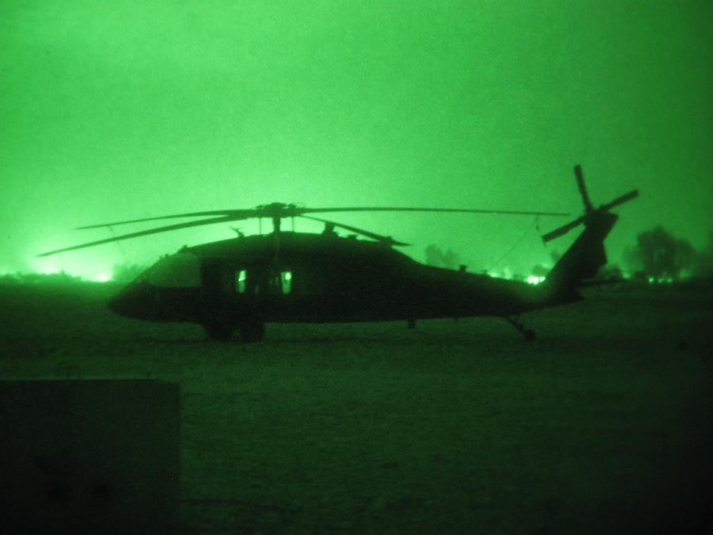 Blackhawk at night in Afghanistan