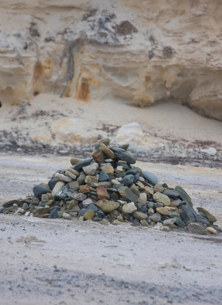 Lime Quarry, Robben Island.  These stones were placed by former political prisoners, including Mandela, during the mid 90's.  They mark the starting point of the quarry when prison labor began in 1960.