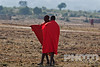 Two Masai men standing talking, dressed in traditional red shukas, older man pointing with traditional stick, savanna with hills beyond, early morning, Masai Mara, Kenya, Africa