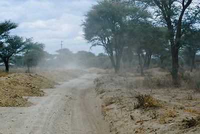 The dusty road entering Tarangire National Park