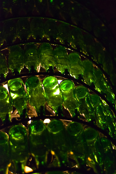 The chandelier in the bar.