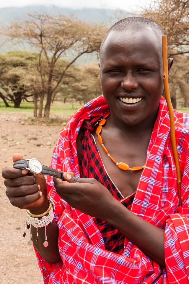 David here, our own guide in the village, admired my Timex. He told me that watches were valuable in the bush (???). We agreed on a trade- my Timex for a wildebeest tail flyswatter with a beaded handle