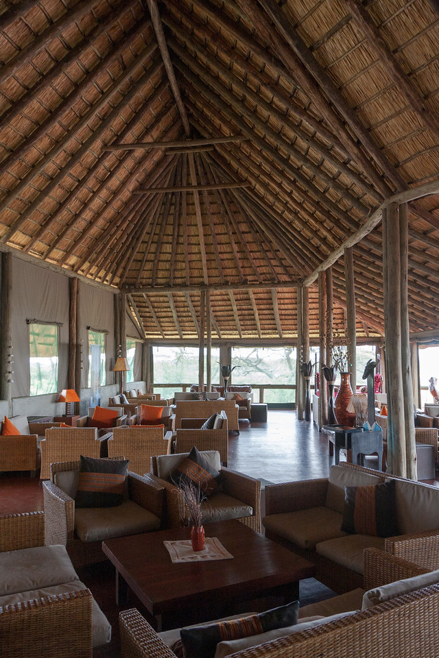 Our last safari lodge- a tent camp on Lake Masek. This is the reception lounge and dining room area of the camp. Like other camps, at night we were escorted to/fro our tents as the grounds sometimes has elephants, giraffes, cape buffalo or hippos wandering through.