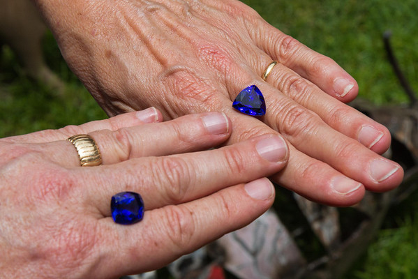 Tanzanite is a gem mined only in the area around Arusha, is very rare and very expensive. These two stones were each more than four figures.