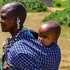 A Maasai mother with one of her children.