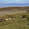 A typical Maasai village, or boma, in the Ngorongoro Highlands.