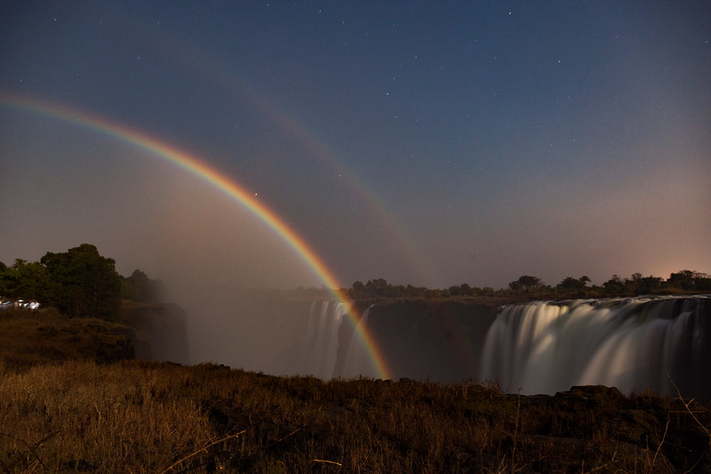 Moonbows over Victoria Falls, Zimbabwe