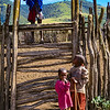 Maasai children near the livestock corral.