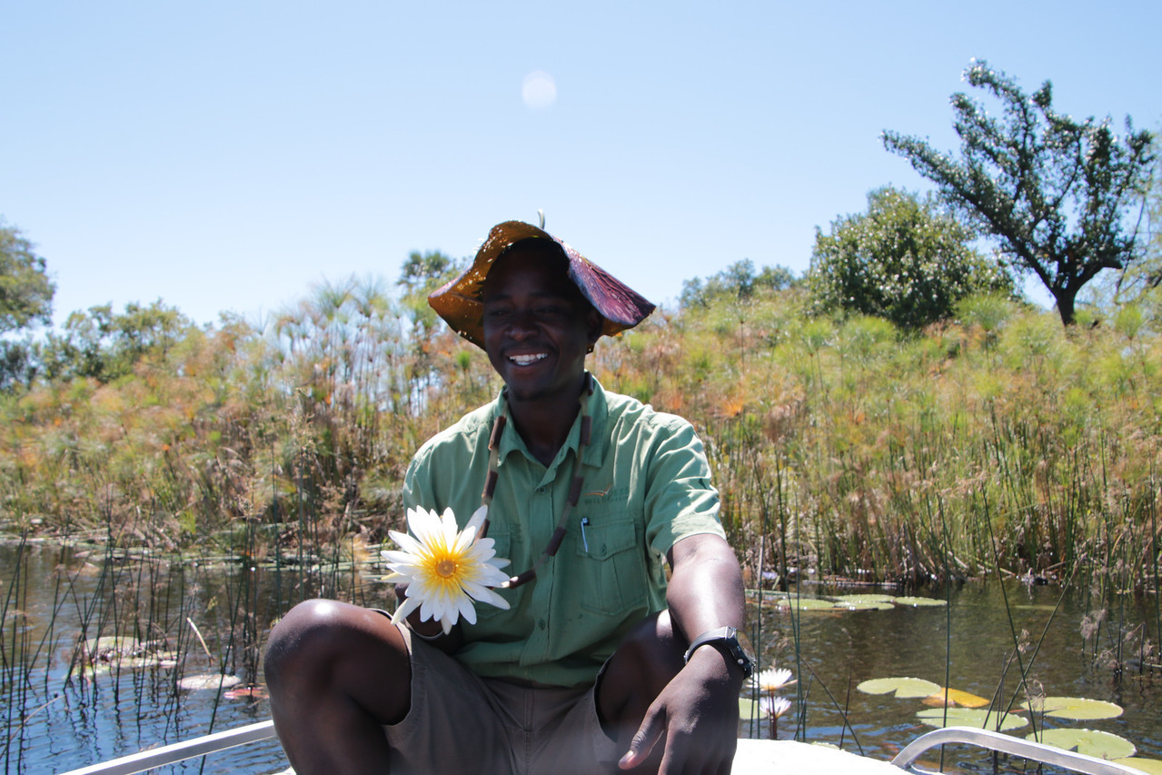 Our guide, Onks showed us how to make a hat out of a Lily Pad and a necklace out of the flower.