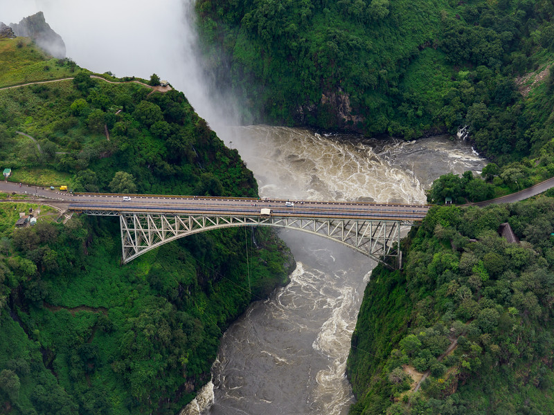 An aerial view, in a helicopter, gave us a totally different perspective on the bridge and the falls.