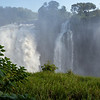 Unlike Niagara Falls, which is a wide-open horseshoe, Victoria Falls are spread out over a larger area and are more like a curtain.