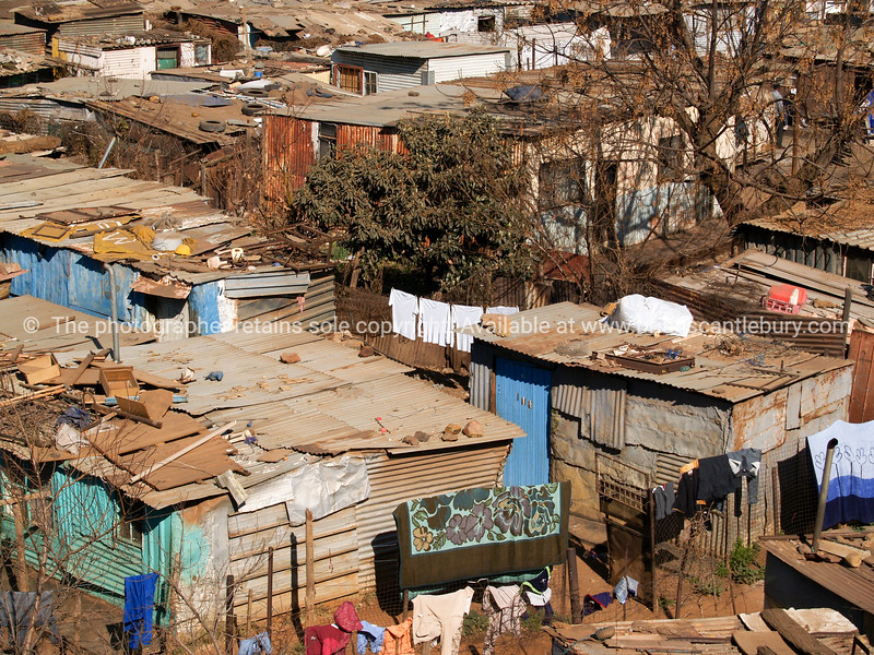 Soweto, shanty town iron homes.
