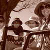 """On safari, sepia of four women travelling on Land Rover.<br /> Model released; no, for editorial & personal use. SEE ALSO:  <a href=""""http://www.blurb.com/b/685976-africa"""">http://www.blurb.com/b/685976-africa</a>"""