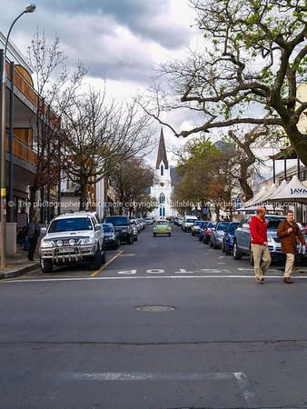 Christ church at end of street in Stellenbosch
