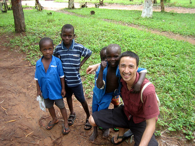 Tobias with school children, Kande, Malawi