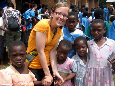 Steph with school children, Kande, Malawi