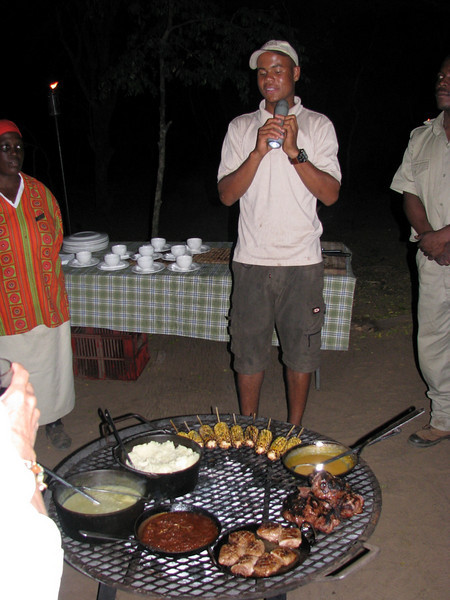 Phinda BBQ dinner, featuring local meat and pap (maize)