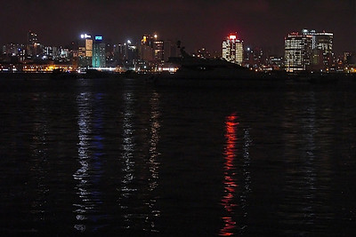 "View of Luanda at night from ""The Ilha."""