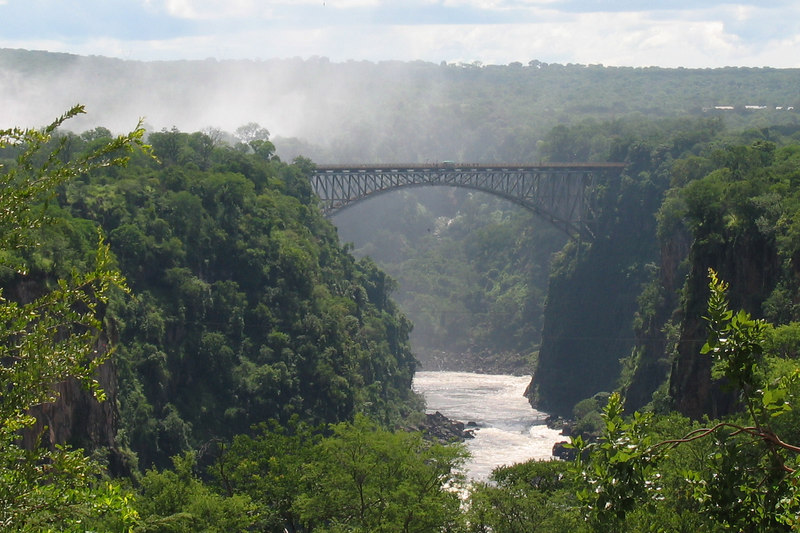 Bridge Between Zimbabwe and Zambia (Bungee Jumper Dangling Below It!)