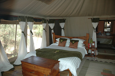 The accommodations were perfect. Larson's Camp in Samburu consists of high luxury tents right on the river.