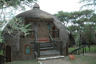 Although they don't look it, our accommodations in the Serengeti are very luxurious chalets. Imitating the local tribal buildings, they are elegantly outfitted and surrounded by birds, bushbabies, and other wildlife.