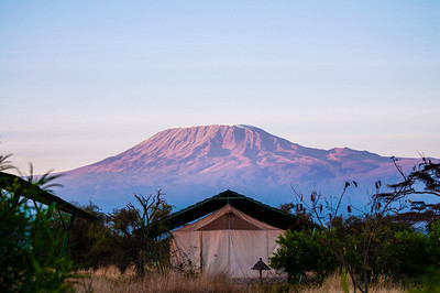 Kilimanjaro behind our tent