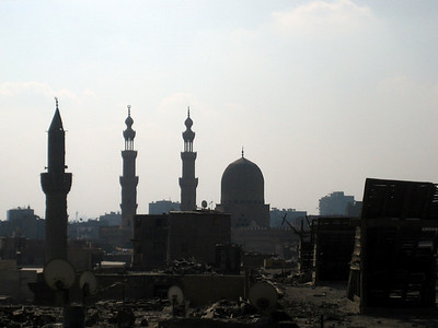 The Cairo skyline is a curious mix of beautiful mosques and litter-covered rooftops.