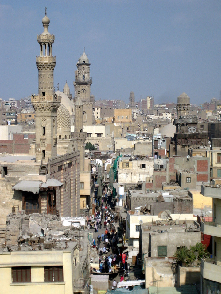 View down to Khan al Khalili markets from the rooftop of Mosque Al Ghouri, Cairo