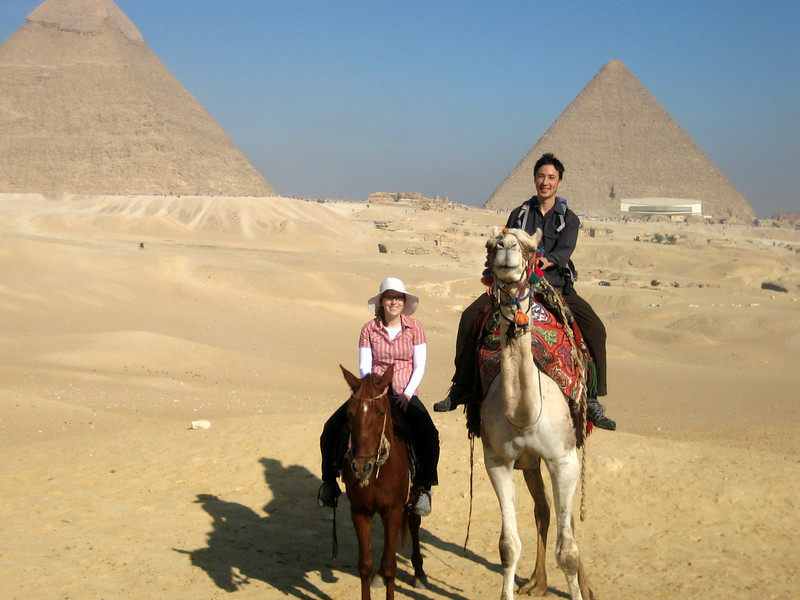 Pyramids at Giza, on the outskirts of Cairo. Who would have thought that a camel was so much taller than a horse?