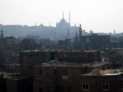 View to the citadel from the rooftop of Mosque Al Ghouri, Cairo