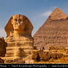 Egypt - Cairo - القاهرة - al-Qāhira - Giza - Home of the Great Pyramids of Egypt & Great Sphinx near Cairo - UNESCO World Heritage Site - Extraordinary funerary monuments, including rock tombs, ornate mastabas, temples and pyramids - In ancient times considered one of the Seven Wonders of the World