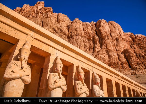 """Egypt - Luxor - الأقصر - al-Uqṣur - Ancient Thebes - طيبة - UNESCO World Cultural Heritage site on banks of river Nile - Temple of Queen Hatshepsut - Djeser-Djeseru - """"Holy of Holies"""" - Mortuary temple dedicated to the sun god Amon-Ra located beneath the cliffs at Deir el Bahari"""