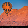 Egypt - Luxor - Hot air balloon flight over Nile West Bank & Temples in Valley of the Kings - طيبة - UNESCO World Cultural Heritage site on banks of river Nile - الأقصر - al-Uqṣur