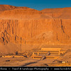 """Egypt - Luxor - Hot air balloon flight over Nile West Bank & Temples in Valley of the Kings - Temple of Queen Hatshepsut - Djeser-Djeseru - """"Holy of Holies"""" - Mortuary temple dedicated to the sun god Amon-Ra located beneath the cliffs at Deir el Bahari - طيبة - UNESCO World Cultural Heritage site on banks of river Nile - الأقصر - al-Uqṣur"""