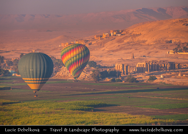 Egypt - Luxor - الأقصر - al-Uqṣur - Ancient Thebes - طيبة - UNESCO World Cultural Heritage site - Hot air balloon flight over Nile West Bank & Valley of the Kings - Ramesseum - Memorial temple - Mortuary temple of Pharaoh Ramesses II - Ramses the Great - Theban necropolis