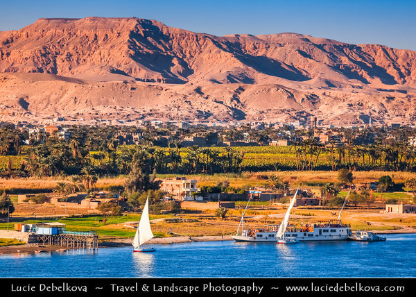 Egypt - Luxor - الأقصر - al-Uqṣur - Ancient Thebes - طيبة‎ - UNESCO World Cultural Heritage site on banks of river Nile - One of the longest rivers in the world, flowing for over 6000km from the mountains of Tanzania to the Mediterranean Sea