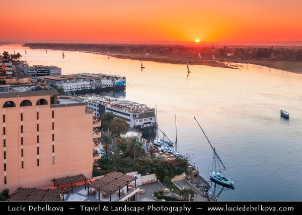 Egypt - Luxor - Luxor View from 5* Sonesta St. George Hotel on banks of river Nile - طيبة - UNESCO World Cultural Heritage site on banks of river Nile - الأقصر - al-Uqṣur