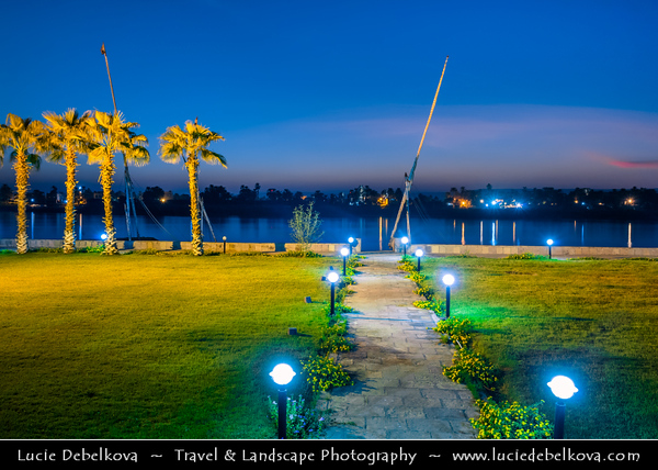 Egypt - Luxor - الأقصر - al-Uqṣur - Ancient Thebes - طيبة - UNESCO World Cultural Heritage site on banks of river Nile - Quiet evening on shores of mythical river - One of the longest rivers in the world, flowing for over 6000km from the mountains of Tanzania to the Mediterranean Sea