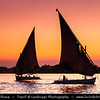Egypt - Luxor - الأقصر - al-Uqṣur - Ancient Thebes - Θῆβαι - Thēbai - طيبة‎ - UNESCO World Cultural Heritage site on banks of river Nile - Sailing in Felucca (boat) in the evening time