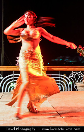 Egypt - Luxor - Bellydance performance in 5* Sonesta St. George Hotel on banks of river Nile - طيبة - UNESCO World Cultural Heritage site on banks of river Nile - الأقصر - al-Uqṣur