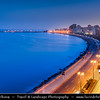 Egypt - Alexandria - الإسكندرية - al-Iskandariyya - Αλεξάνδρεια - Ancient Town on Shores of Mediterranean Sea - Cityscape along the Corniche with town seafront  - Dusk - Twilight - Blue Hour - Night