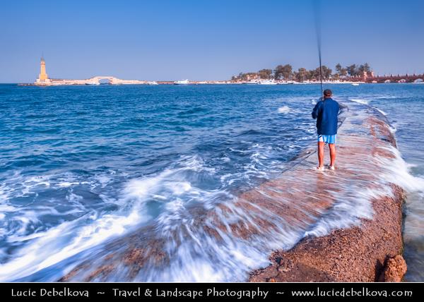 Egypt - Alexandria - الإسكندرية - al-Iskandariyya - Αλεξάνδρεια - Ancient City on Shores of Mediterranean Sea - Fisherman on the seafront